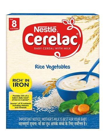 Nestle CERELAC Fortified Baby Cereal with Milk, Rice Vegetables – From 8 Months (300g)