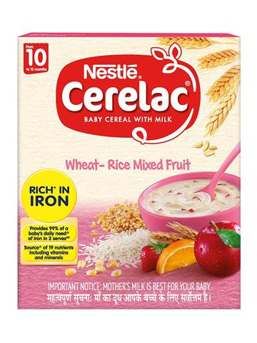 Nestle CERELAC Fortified Baby Cereal with Milk, Wheat-Rice Mixed Fruit – From 10 Months, 300g
