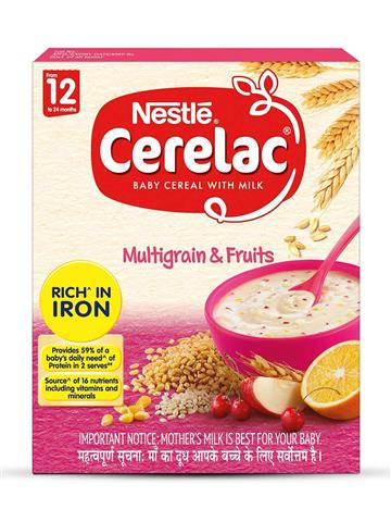 Nestle CERELAC Fortified Baby Cereal with Milk, Multigrain & Fruits – From 12 Months, 300g