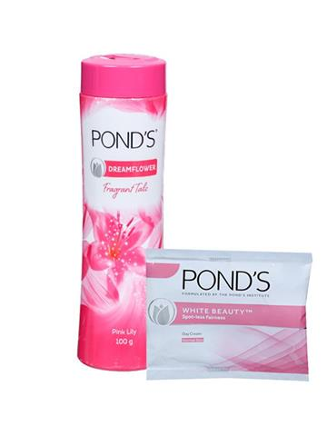Ponds Dream Flower Fragrant Talc 100g with 2 Units of white beauty cream