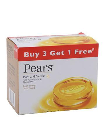 Pears Pure And Gentle Soap, 75 g, (Buy 3 get 1 free)