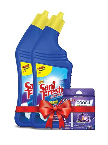 Sanifresh Ultrashine 1L ( 500 + 500) Toilet Cleaner - with Odonil Room Freshner Blocks 50 g Free