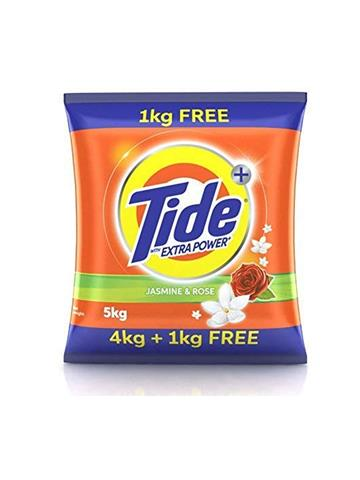 Tide Plus Extra Power Detergent Washing Powder - 4 kg + 1 Kg Free (Jasmine and Rose)