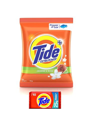 Tide Plus with Extra Power Jasmine and Rose Detergent Washing Powder - 1 kg
