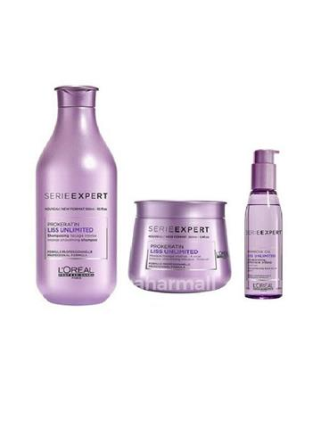 Loreal Professionnel Serie Expert Liss Unlimited Kit, 300ml, 250ml, 125ml