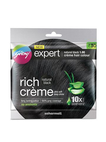 Godrej Expert Rich Creme Hair color - Shade 1 Natrual Black, Single Use, 20 g