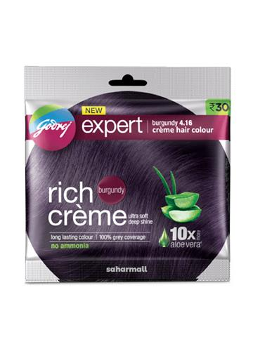 Godrej Expert Rich Creme Hair Color - Burgundy , Single Use, 20 g