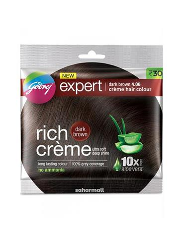 Godrej Expert Rich Creme Hair color - Dark Brown, Single Use, 20 g