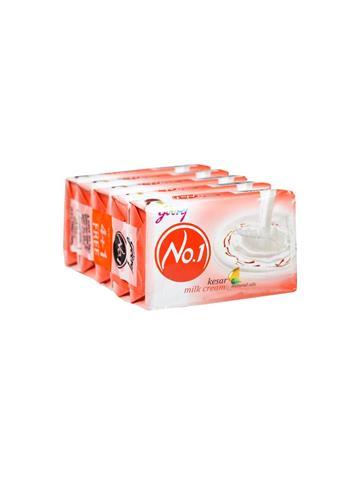 Godrej No.1 Kesar And Milk Cream Soap (Buy 4 Get 1 Free) 5 x 100g