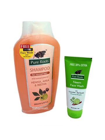 pure roots shampoo for normal hair with heena amla & ritha 500ml