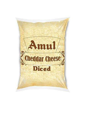 Amul Cheddar Cheese - Diced (1kg Pouch)