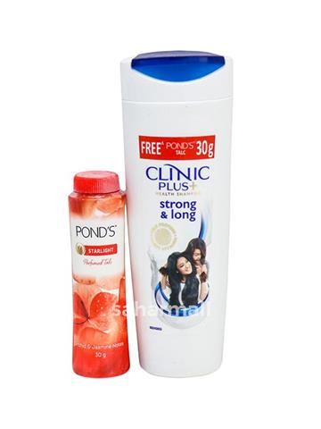 Clinic Plus Health shampoo, strong and long 340ml With free ponds talc 50g