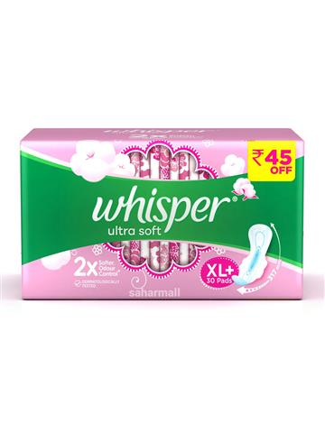 Whisper Ultra Soft 2x Softer Sanitary Pads - XL Plus 30 pads