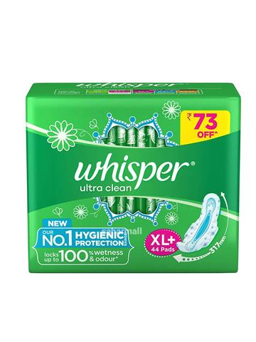 Whisper Sanitary Pads-Extra Large Plus Clean Ultra (44 pcs)