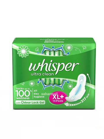 Whisper Ultra Clean Xl Plus Wings 15 Pads