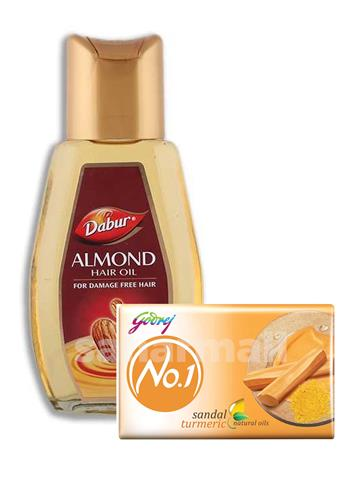 Dabur Almond Hair Oil 200ml With Fee Godrej No 1 Sandal Soap