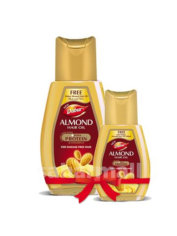 Dabur - Almond Hair Oil With Soya Protien for damage free hair 100ml + Free Small size Bottle