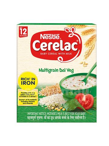Nestle CERELAC Fortified Baby Cereal with Milk, Multigrain Dal Veg – From 12 Months, 300g BIB Pack