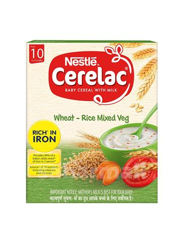 Nestle cerelac baby cereal with milk wheat - rice mixed veg from 10 to 12 months