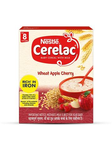 Nestle Cerelac Fortified Baby Cereal With Milk Wheat Apple Cherry 300g