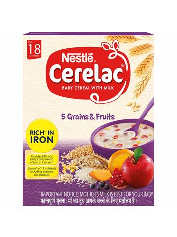 Nestle Cerelac Fortified Baby Cereal with Milk 5 Grains & Fruits from 18 to 24 months 300g
