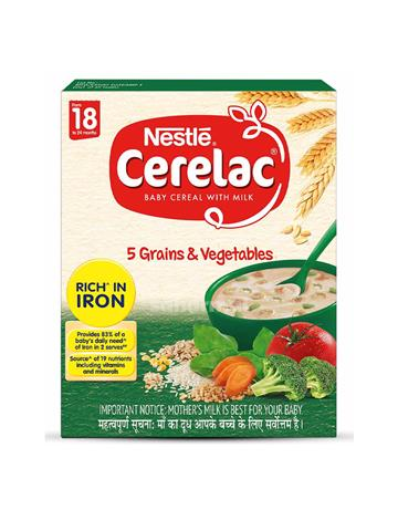 Nestle Cerelac Fortified Baby Cereal with Milk 5 Grains & Vegetables 300g