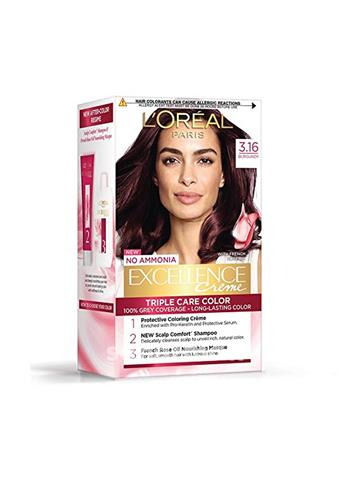 Loreal Paris Excellence Creme Hair Color, 3.16 Burgundy, 72ml+100g