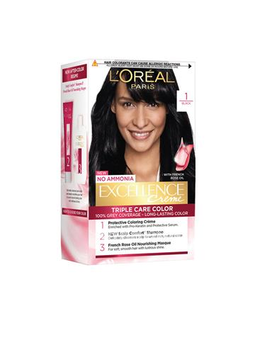 LOreal Paris Women Excellence Creme Hair Color - Black 1 72ml+100g