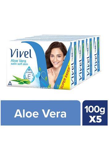 Vivel Aloe Vera Satin soft skin Bathing Bar soap, 100g (Pack of 5)