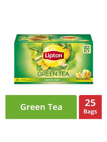 Lipton green tea lemon zest 25 tea bags 1.3 g each