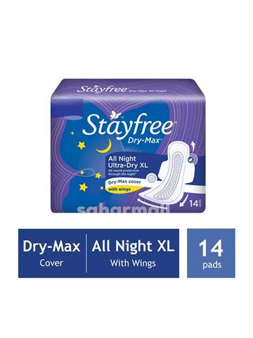 Stayfree Dry-Max All Night Ultra-Dry With Wings - XL (14 Pads)