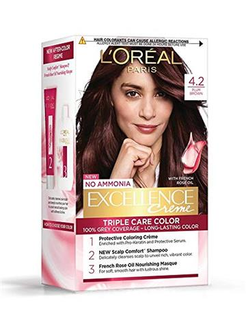 LOreal Paris Excellence Creme Hair Color, 4.20 Plum Brown, 72ml+100g