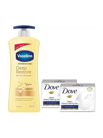 Vaseline Body Lotion Intensive Care Deep Restore 400ml with free 2 dove bathing bars