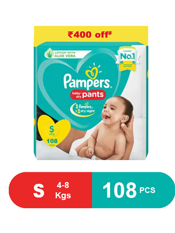 Pampers Baby dry pants Lotion with Aloe vera 108 Pants - Small