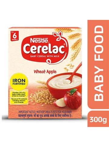 Nestle Cerelac Baby Cereal With Milk Wheat Apple (300g)