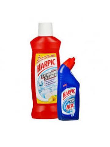 Harpic Disinfectant Bathroom Cleaner Lemon 500ML With Harpic Plus Power 10X Max Clean 200ML