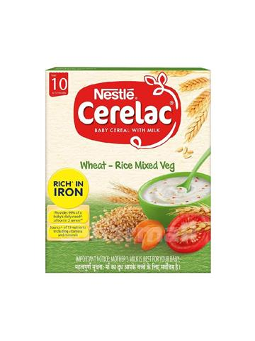 Nestle cerelac baby cereal with milk wheat - rice mixed veg from 10 to 24 months