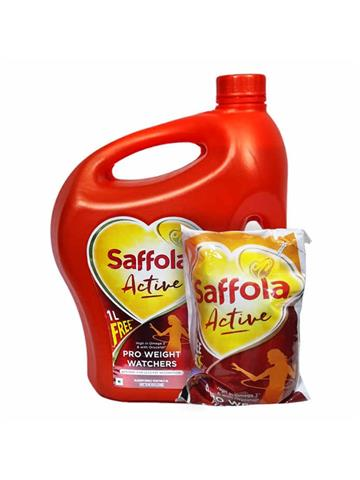 Saffola Active, Pro Weight Watchers Edible Oil, Jar, 5litre with 1 Ltr Free  pouch