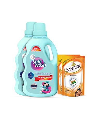 Safe Wash Liquid Detergent 1kg buy 1 get 1 free (two santoor handwash 180ml free)